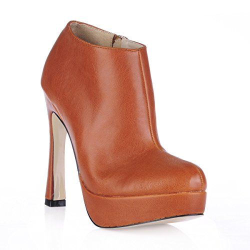 new the girl and winter desktop Short high ladies the waterproof head round the boot boots heel Brown shoes rough brown wZYtZqxRA