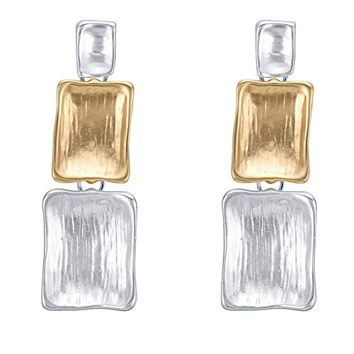 (bjlongyi Ladies Fashion Earrings,Three Rectangular Dual Color Matte Dangle Party Jewelry Gift Silver)