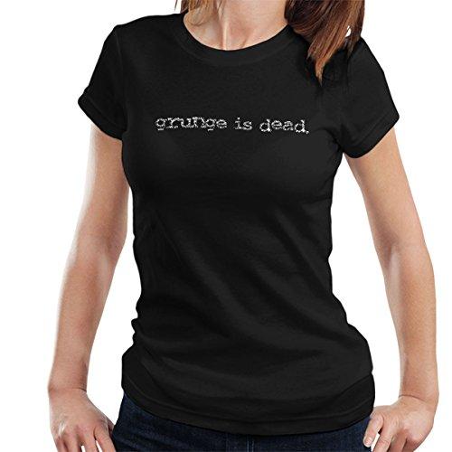 Coto7 Apparel Grunge is Dead by Kurt Cobain Nirvana Women's T-Shirt Black