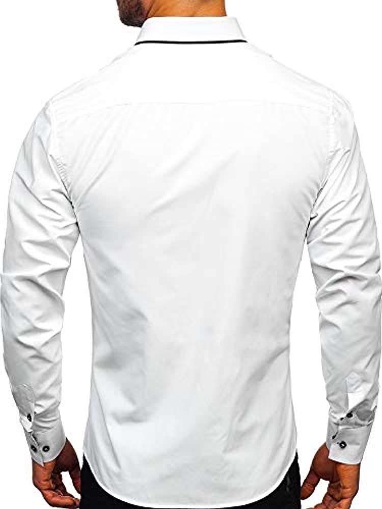 BOLF Hombre Camisa De Manga Larga Cuello Americano Camisa Elegante Camisa de Algodón Slim fit Estilo Elegante 2767-1 Blanco S [2B2]: Amazon.es: Ropa y accesorios