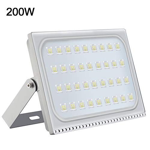 LED Flood Light Outdoor 200W, 16000lumen Cool White 6000K, IP67 Waterproof Super Bright Security Lights, Outdoor Floodlight for Yard, Garden, Playground, Basketball Court