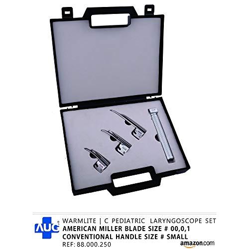 AUG 88.000.250 Warmlite C Pediatric Laryngoscope Set, Miller Shape, Small, Silver