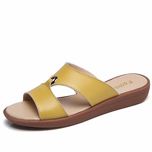 De Zapatos Low Yellow Yuch Mujer Ligero Diario Perezoso heeled Casual Zapatillas Cw45qHx