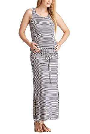 """Momo Maternity """"Chloe"""" Drop Waist Maxi Dress - Navy/Ivory S"""