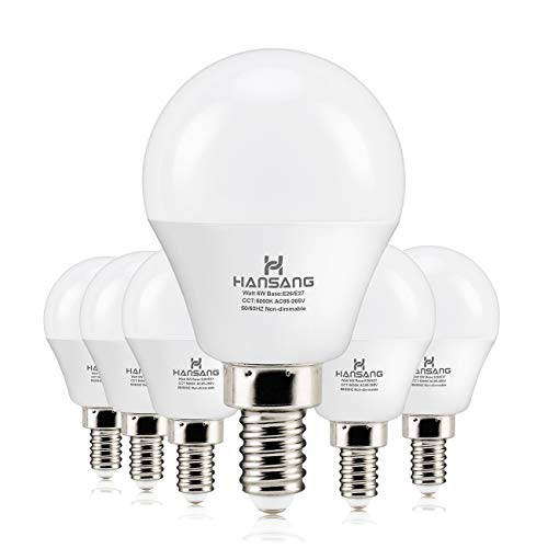 6 watt(60w Equivalent) Hansang LED Bulbs Light E12 Screw Base Candelabra Round Bulb 600 Lumen,High CRI,Daylight 5000K,G14 Decorative Bulb Non dimmable for Ceiling Fan 120V Pack of 6 (Daylight 5000K) ()