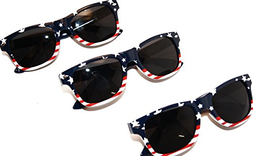 American Flag U.S.A. Beach and July 4th Series Sunglasses (3) Pack for Kids Under - 4 U Sunglasses