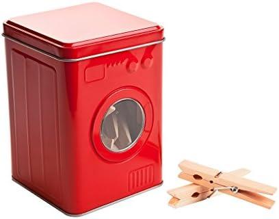 Balvi Caja Pinzas Lavadora Color Rojo con 24 Pinzas de Madera Tapa ...