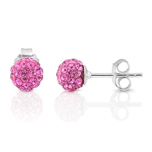 (925 Sterling Silver Rose Pink Crystal Rhinestone Disco Ball 7 mm Post Stud Earrings)
