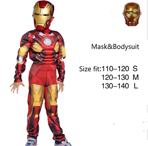 Halloween Costume Superhero Cosplay Fancy Dress Halloween Party for Kids Boys- Iron Man (Red) (L) -