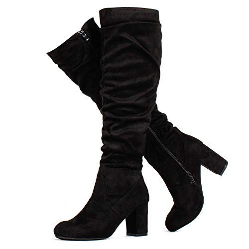 RF ROOM OF FASHION Women's Medium Calf Chunky Heel Slouchy Knee High Dress Boots Black SU (10)