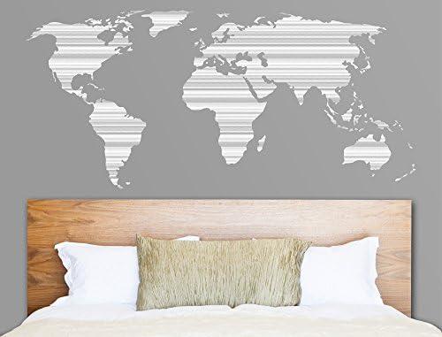 Pegatina de pared Salón Mapa del mundo con patrón integrado de ...