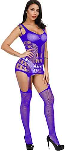 3b4d83970e1f Women's Sexy Backless Perspective Lace Babydolls Sexy Temptation Mesh  Fishnet Perspective Back Body Stockings