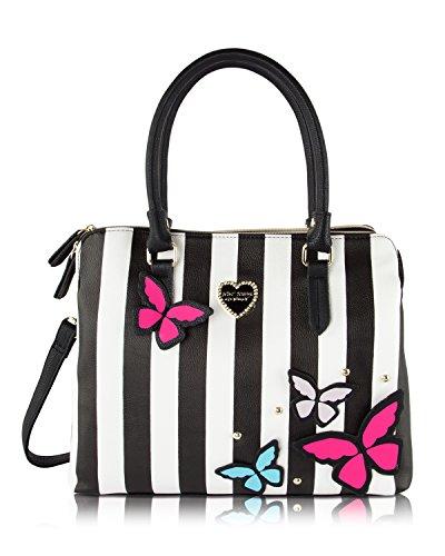 Betsey Johnson Be Mine Multi Compartment Tote Shoulder Bag - 3D Butterfly (Multi Compartment Shoulder Tote)