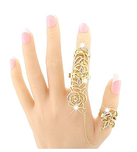 F-sport Charm Crystal Rhinestone Hollow Metal Chain Link Multiple Finger Stack Knuckle Rose Rings Set ()
