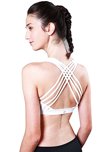 24378cb9407aa Queenie Ke Women s Medium Support Strappy Back Energy Sport Bra Cotton Feel  Size XL Color Angle
