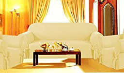 Sofa / Couch Cover Slipcover 3 Pc. Set = Sofa + Loveseat + Chair Covers / Slipcovers 3 Pcs SET Stripe Jacquard Fabric - Light Gold color