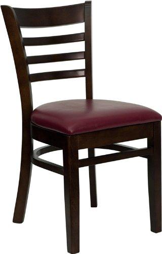 Flash Furniture HERCULES Series Ladder Back Walnut Wood Restaurant Chair - Burgundy Vinyl Seat