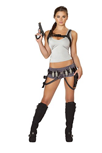 5 Piece Tomb Raider Fighter Lara Croft Cosplay Top & Booty Shorts (Lara Croft Tomb Raider Costume Belt)