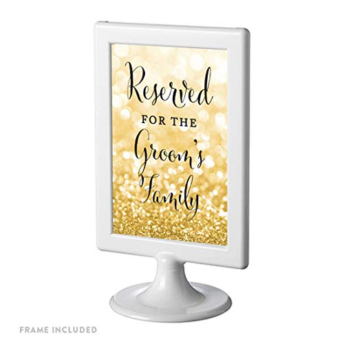 Andaz Press Framed Wedding Party Signs, Glitzy Gold Glitter, 4×6-inch, Reserved for The Groom's Family, 1-Pack
