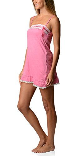 Bottoms Out Women's Jersey Knit Lace Chemise Nightshirt Sweetheart Slip - Rose - Large