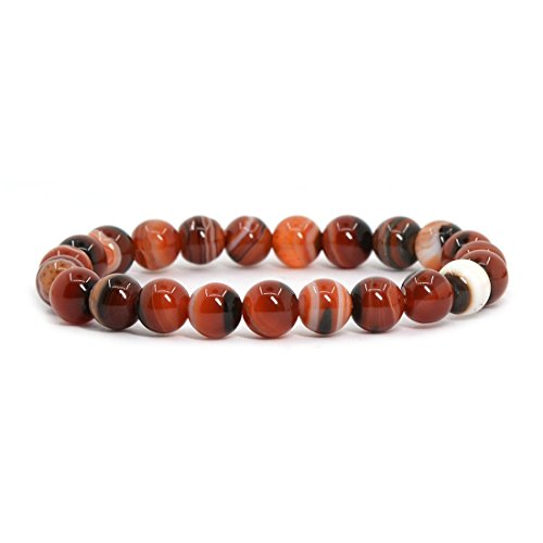 Red Dream Agate Gemstone 8mm Round Beads Stretch Bracelet 7