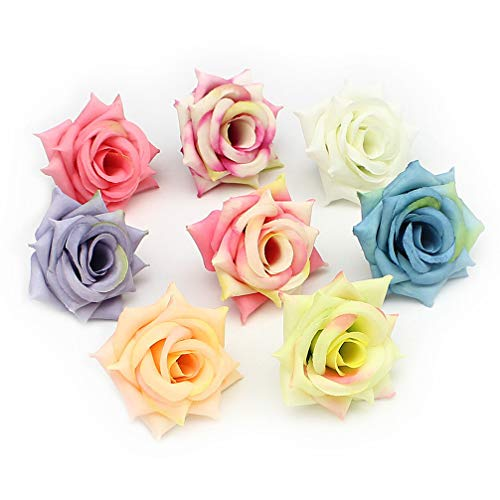 Flower Heads in Bulk Wholesale for Crafts Outdoor Artificial Rose Flower Heads Silk Flowers DIY Home Wedding Decoration Fake Flowers Party Festival Decor 20pcs 5cm (Colorful)