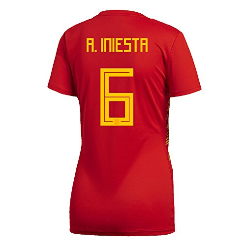 adidas A. Iniesta #6 Spain Home Women's Soccer Jersey World Cup Russia 2018 (S)