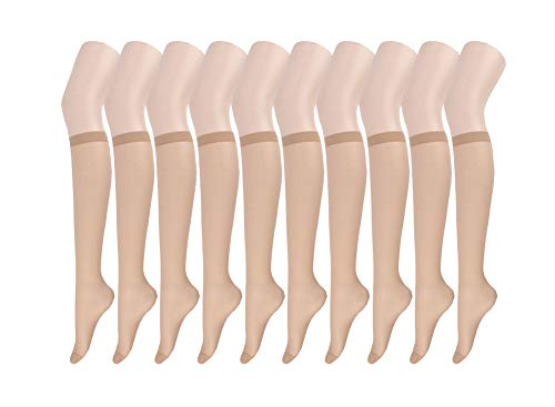 (Endingshop 10 Pairs Sheer Knee High Stockings Compression Pantyhose for Women (nude_10pairs))