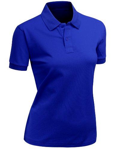 Women's 100% Cotton PK Silket Polo Dri Fit Collar Short Sleeve T-Shirt Cobalt M