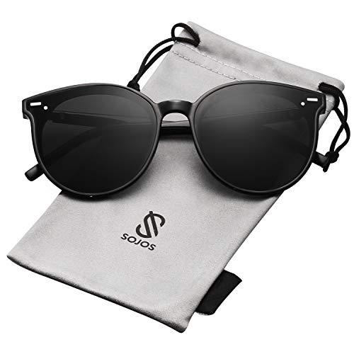 SOJOS Classic Round Retro Plastic Frame Vintage Inspired Sunglasses BLOSSOM SJ2067 with Black Frame/Grey Lens]()