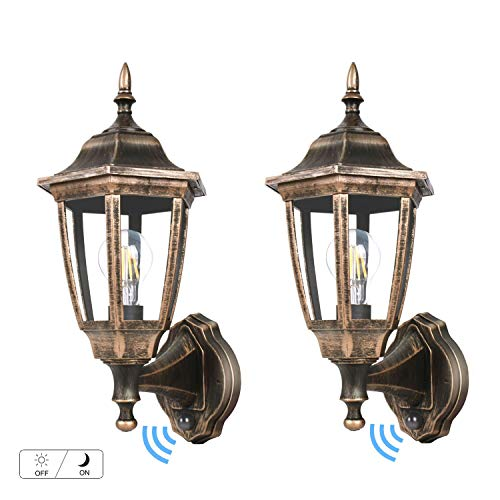 - FUDESY LED Dusk to Dawn Sensor Wall Lantern, Outdoor Wall Mount Light Plastic Black-Golden Porch Lantern with Edison Filament Bulb,Exterior Wall Light Fixtures for Garage,Yard(2-Pack),FDS2542EPSG