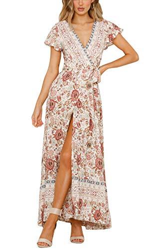 Yidarton Women's Summer Bohemian Wrap V Neck Floral Printed Short Sleeve Beach Casual Long Maxi Dresses(be,m) Ivory