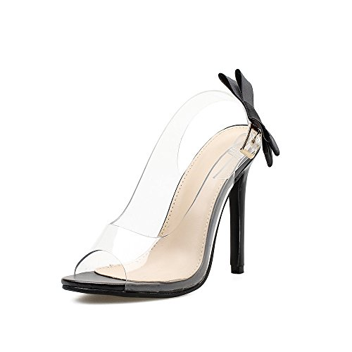 Patent Peep Toe Bow - Shoe'N Tale Women's Cute Bow-Knot Transparent Ankle Strap Peep Toe Slingback Patent Stiletto High Heel Sandals (10.5 B(M) US, Black Pat)