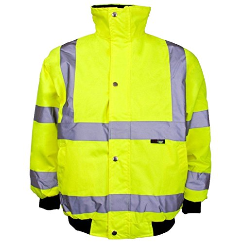 MA ONLINE Kids Junior Hi Vis Bomber Jacket with Concealed Hood Childrens Workwear Coat Yellow 10-12 Years -
