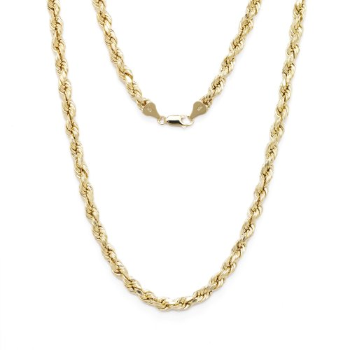 28 Inch 10k Yellow Gold Diamond Cut Hollow Rope Chain Necklace with Lobster Claw Clasp, 3mm by SL Chain Collection