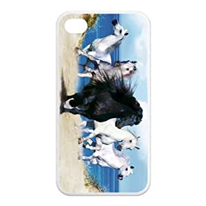 Horse Design Solid Rubber Customized Cover Case for iPhone 4 4s 4s-linda71