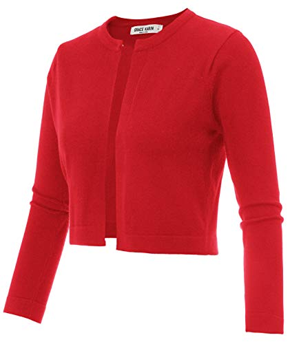 Ladies Short Cropped Bolero Jacket Cardigan for Evening Dress Red Size XL CL942-4