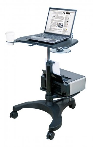 Aidata Ergonomic Sit-Stand Mobile Laptop Cart Work Station with Printer Shelf (Model: (Mobile Supply)