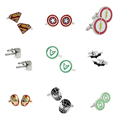 DC+Comics Products : Superheroes Marvel and DC Comics Assorted Superheroe Logos (9-Pairs) Men's Wedding Groomsman Cufflinks W/Gift Box