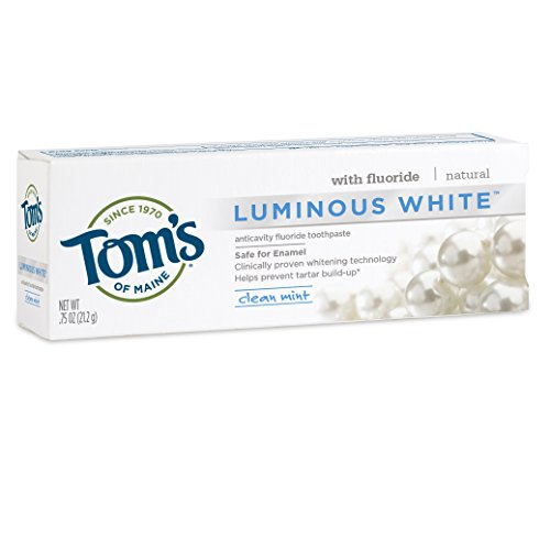 Tom's of Maine Luminous White Whitening Trial-Size Natural Toothpaste, Clean Mint, 0.75 Ounce