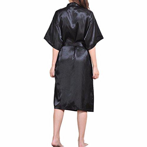 Raso Group Lungo Abito Camice Da Biancheria Nero Sidiou Elegante Vestaglia Accappatoio Donna Kimono Notte In Pigiama HqzSUCw