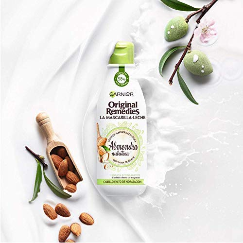 Garnier Original Remedies La Mascarilla Leche Almendra Nutritiva para Pelo Falto de Hidratación - 3 Paquetes de 250 ml - Total: 750 ml