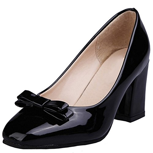 buy popular d25d8 dd2ed COOLCEPT Mujer Clasico Sin Cordones Tacon alto Bombas Zapatos With Bowknot  Negro