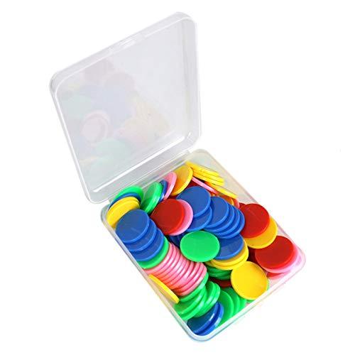 WSSROGY 100個 カラフルなプラスチックカウンター カウントチップ プラスチックマーカー ビンゴチップゲームトークン用 収納ボックス付き