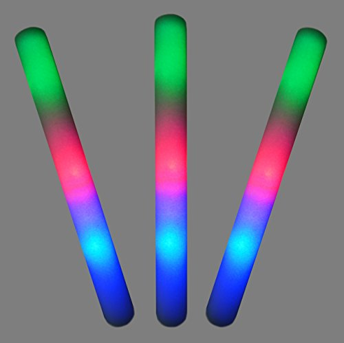 """16"""" Multicolor LED Flashing Effect Foam Sticks Party Pack (12 Pack) and 24 8"""" Glow Sticks by Joyin Toy"""