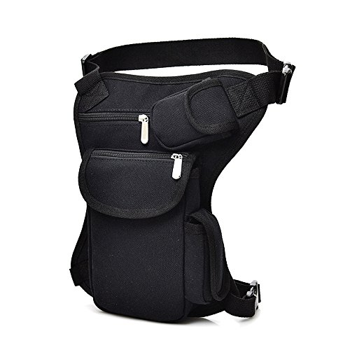 SYIDINZN Drop Leg Bag Pouch Holster Tactical Waist Bag, Men's Retro Multifunctional Outdoor Cotton Sports Racing Fanny Pack Bike Motorcycle Cycling Camping Hiking Hip Bag (Black)]()