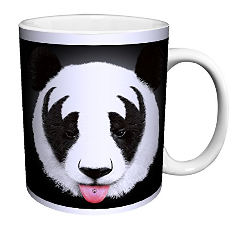 Robert Farkas Panda (Kiss Makeup Fur) Modern Contemporary Animal Art Ceramic Gift Coffee (Tea, Cocoa) 11 Oz. Mug