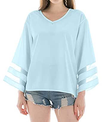 INFLATION Chiffon Blouses for Women, V Neck 3/4 Bell Sleeve Mesh Panel Blouses Loose Top Shirts - Blue - 6/8