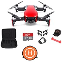 DJI MAVIC Air Flame Red - Bundle With 32 GB Micro HDSC Card, FS Labs Foldable Drone Storage Bag, FS64 Mavic Air Accessories Bundle Set, Protective Fast-fold Drone Landing Pad