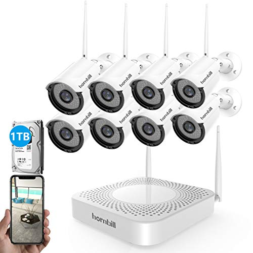 [2019 New] Security Camera System Wireless,Hornbill 8 Channel 1080P Outdoor Home WiFi Security Surveillance Camera System,8pcs 1.3MP IP Security Camera and 1TB Hard Drive Installed No Monthly Fee